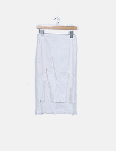 Falda tubo denim blanca con aberturas