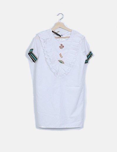 Vestido popelin blanco broches joya