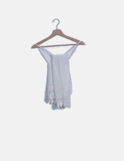 Camiseta blanca crochet espalda lace up