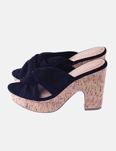 Sandalia tacón negra terciopelo