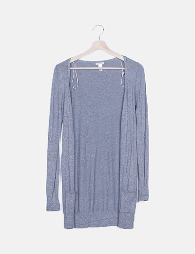 Chaqueta tricot gris con botones