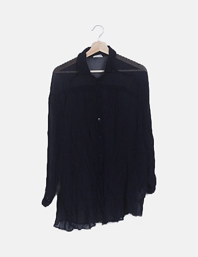 Camisa azul marino gasa arrugada