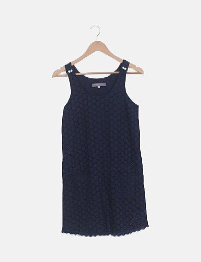 Vestido azul marino troquelado