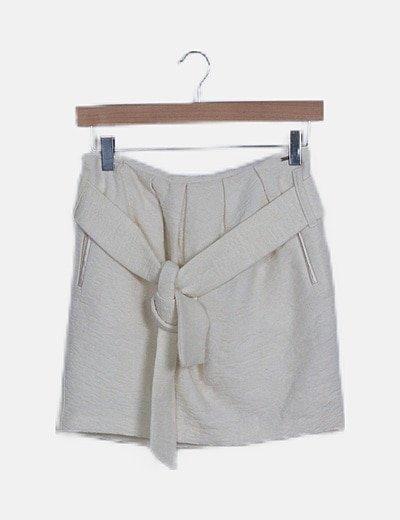 Mini falda pinzas blanca