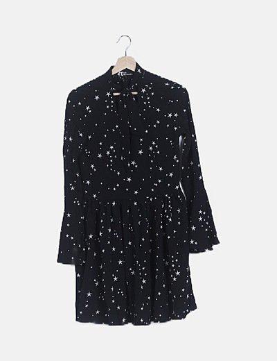 Vestido print estrellas con lazada