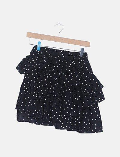 Falda negra volantes con topos