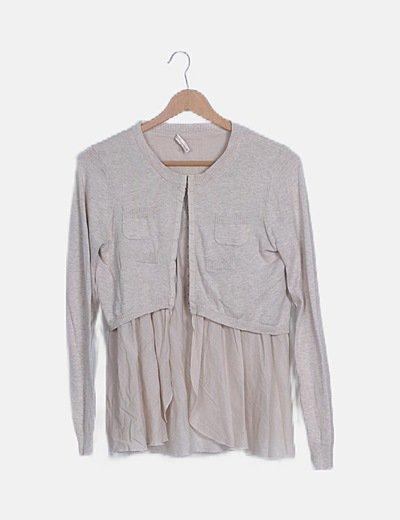Chaqueta corta tricot combinada beige