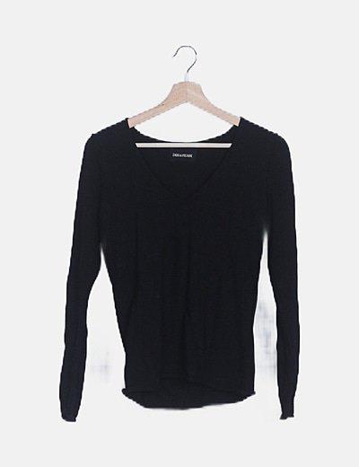 Jersey tricot negro print mariposa strass