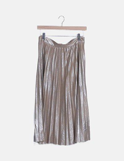 Falda falda plisada midi beige irisada
