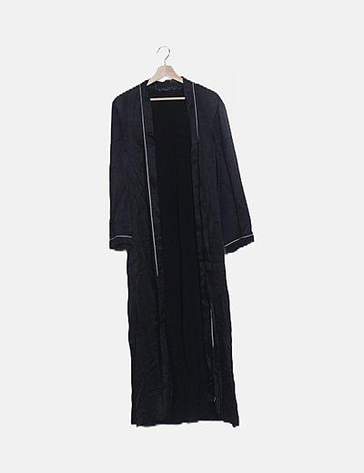 Kimono largo satén negro