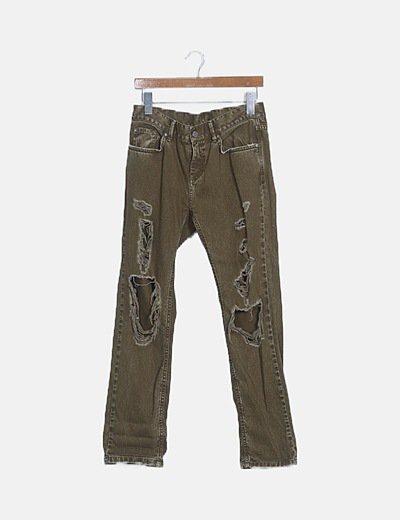 Jeans denim ripped khaki