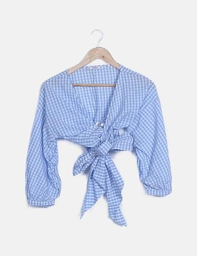 Blusa cuadro vichy azul
