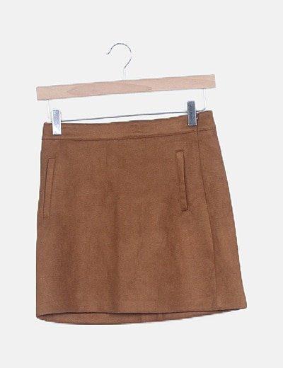 Falda antelina marrón