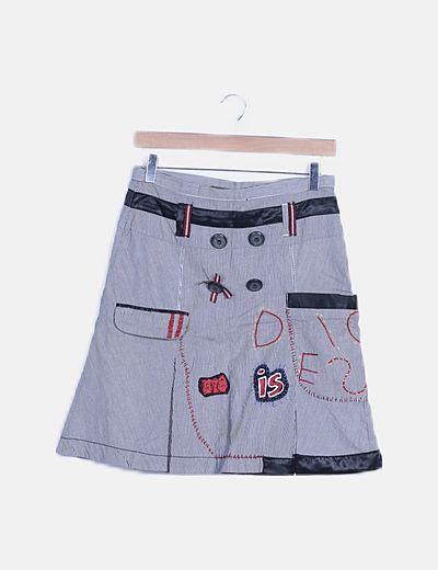 Falda rayas combinada detalle patchwork