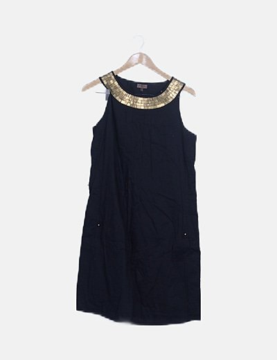 Vestido negro detalles dorados