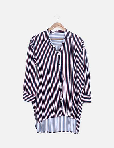 Camisa larga oversize tricolor