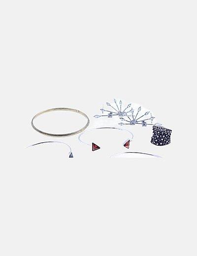 Pack tres pulseras, anillo y pendientes plateados