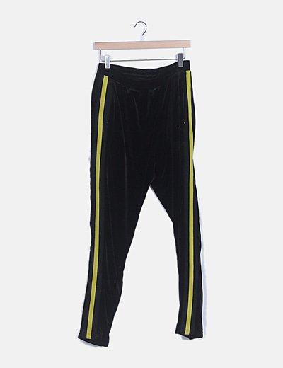 Pantalón de chandal terciopelo banda lateral