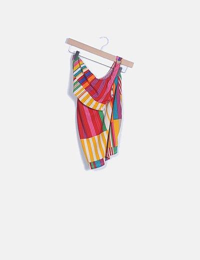 Vestido de rayas multicolor con abertura