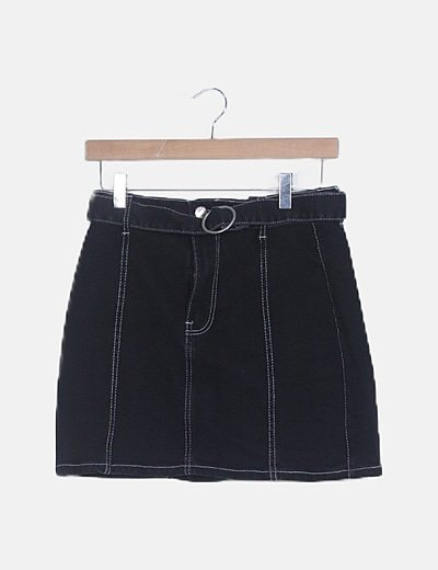 Falda mini denim negra