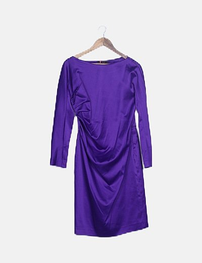 Vestido morado satinado