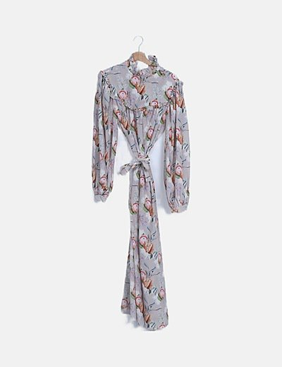 Vestido maxi satén floral