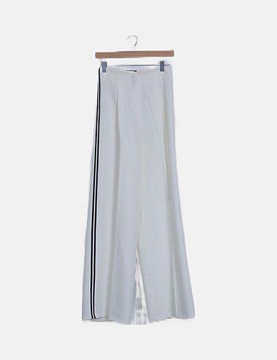 Pantalón blanco palazzo raya lateral