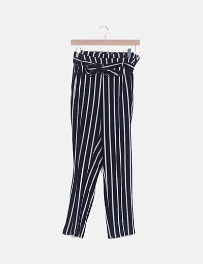 Pantalón baggy rayas blancas