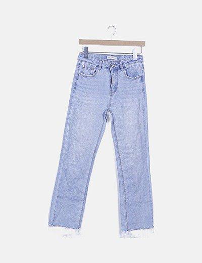 Jeans denim desflecado azul