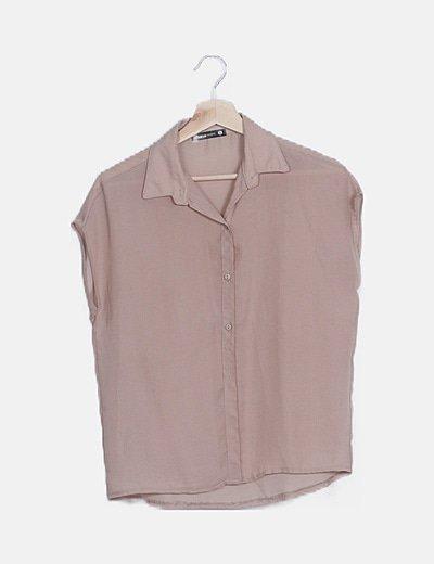 Camisa marón sin mangas semitransparente