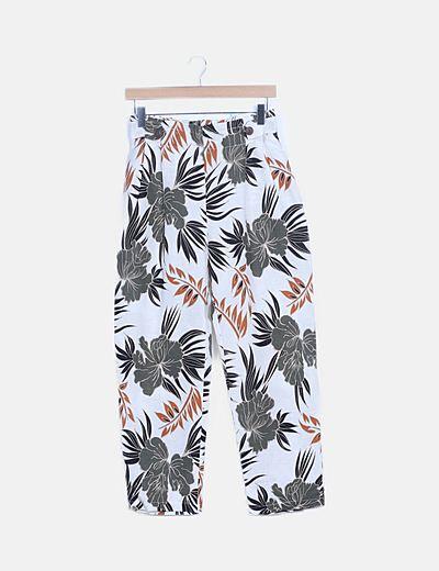 Pantalón blanco print floral multicolor