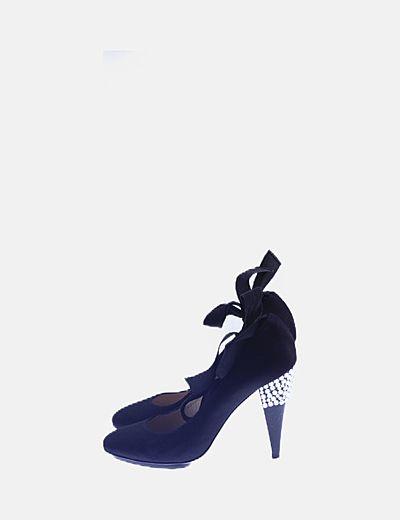 Zapato lace up negro con strass