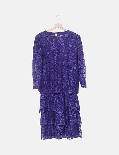 Vestido largo azul combinado floral