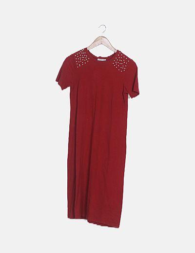 Vestido punto rojo detalle perlas