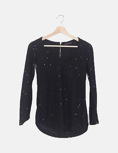 Jersey tricot negro glitter