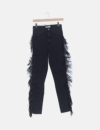 Jeans denim negro flecos