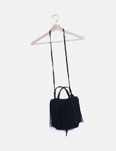 Bolso saco negro serraje flecos