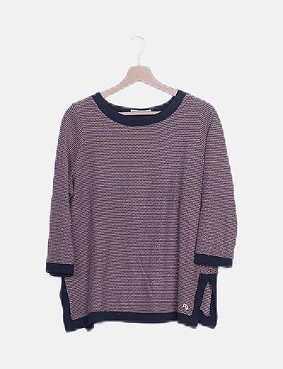 Jersey tricot azul marino estampado