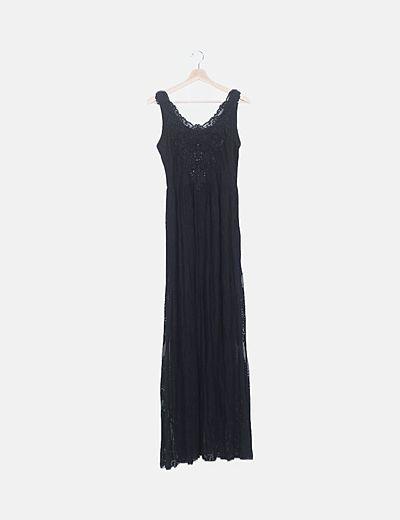 Vestido maxi encaje negro con abalorios