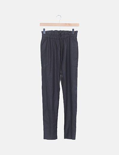 Pantalón baggy rayas gris marengo