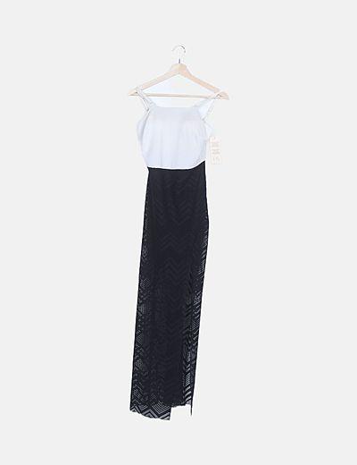 Vestido maxi combinado negro
