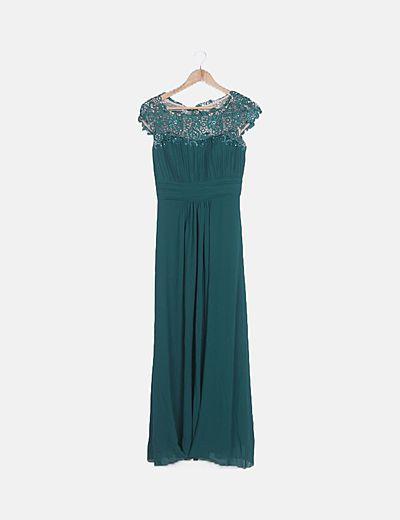 Vestido maxi combinado verde con strass