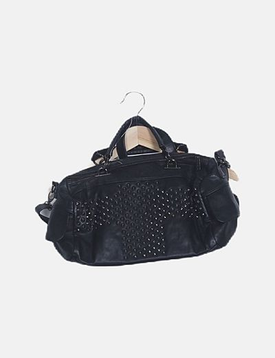 Bolso bowling negro con tachas