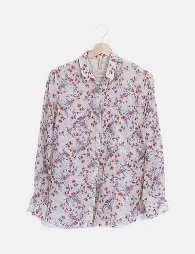 Camisa beige estampado floral semitransparente