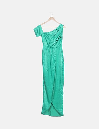 Vestido verde satén asimétrico
