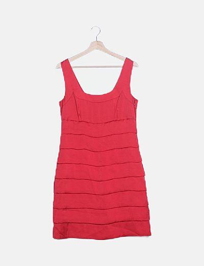 Vestido rojo plisado satén