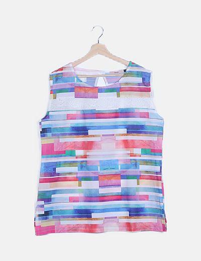 Blusa print multicolor