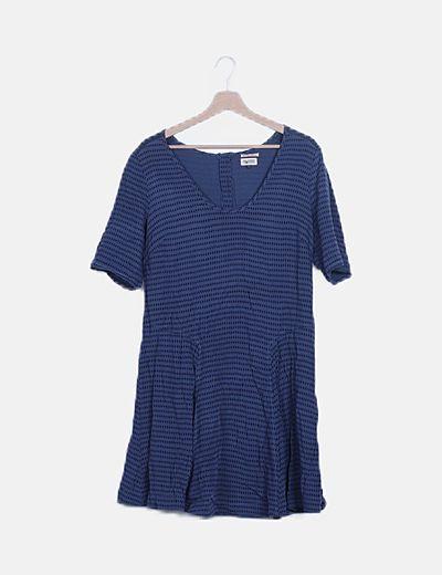 Vestido evasé azul print rombos