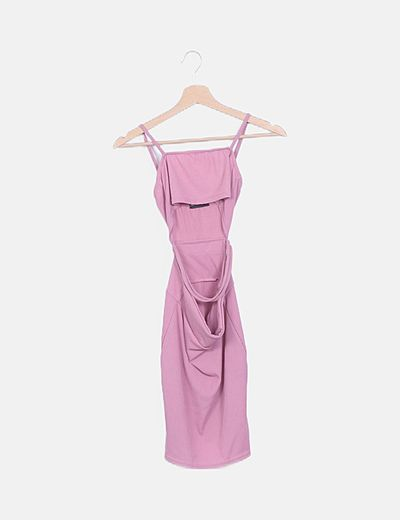 Vestido tirantes rosa con aberturas