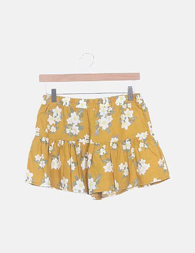 Falda pantalón mostaza print floral